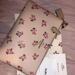 Coach Light Pink Floral Wristlet